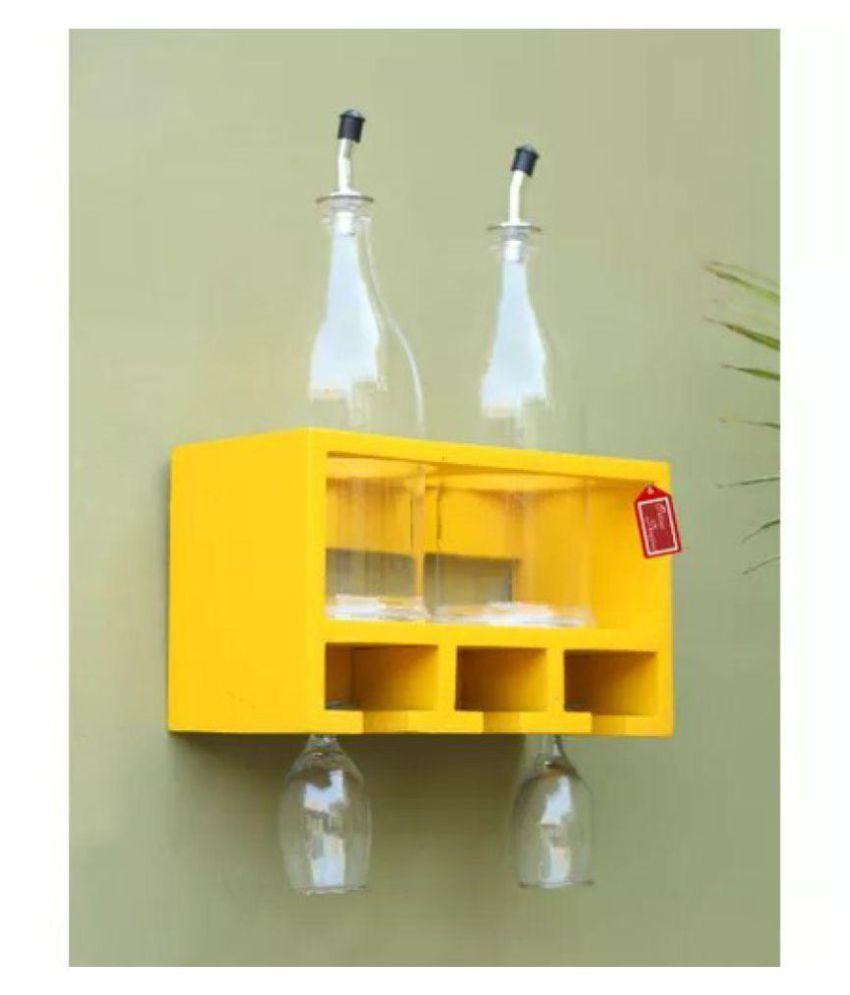 Onlineshoppee Unique Wooden Bottle Rack (Yellow , 2 Bottles Holder)
