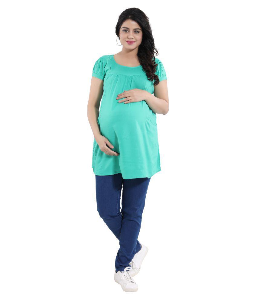 Mamma's Maternity Green Rayon Maternity Tops