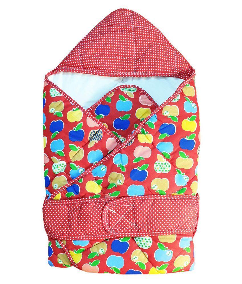WeKidz Red Cotton Baby Wrap cum blanket ( 62 cm × 62 cm - 1 pcs)