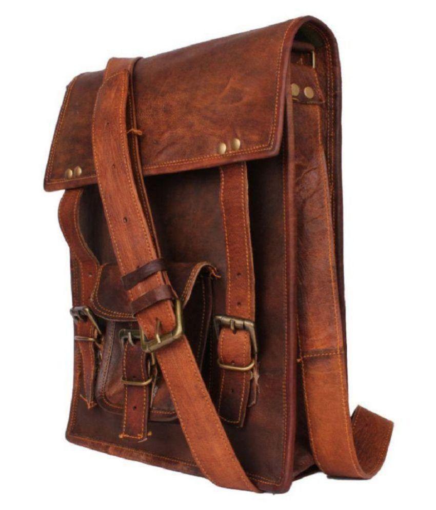 angel bag Brown Leather Office Messenger Bag