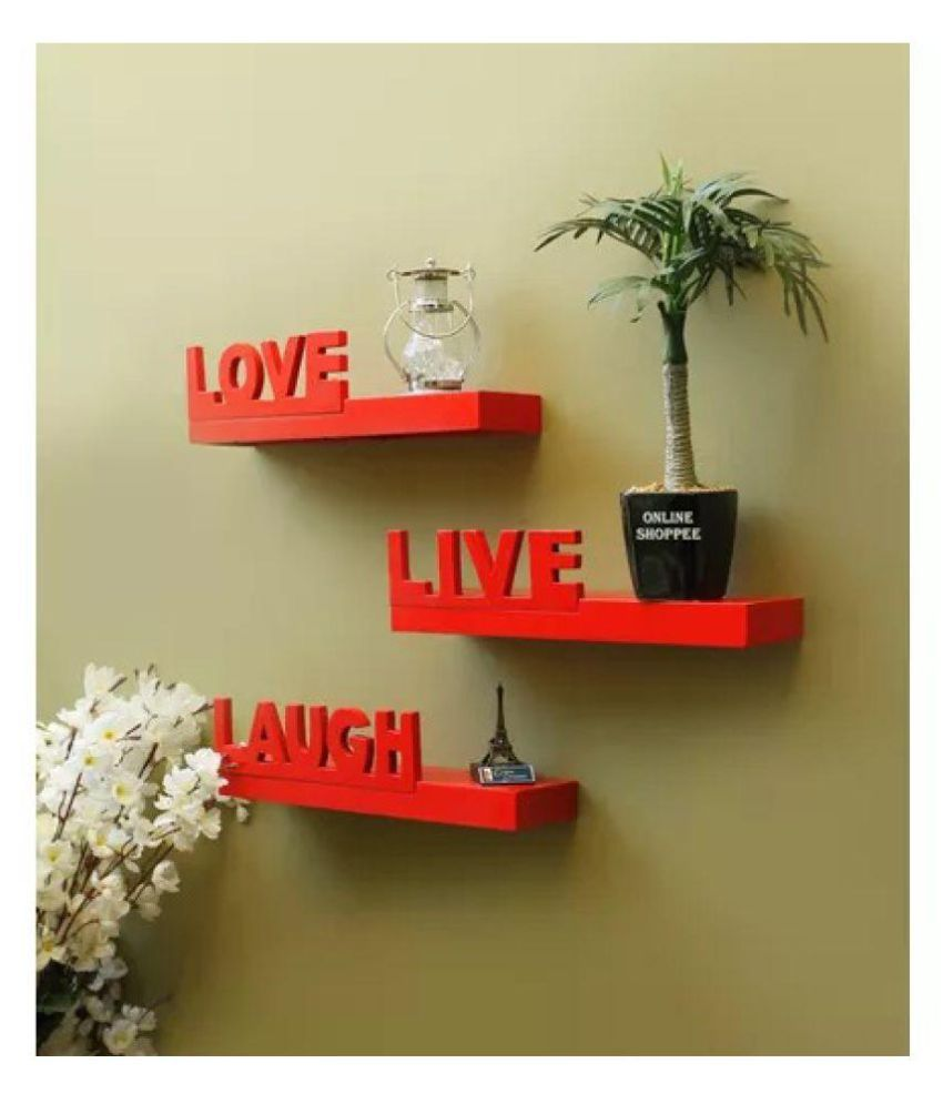 Onlineshoppee Beautiful MDF Red Wall Shelves Live/Love/Laugh