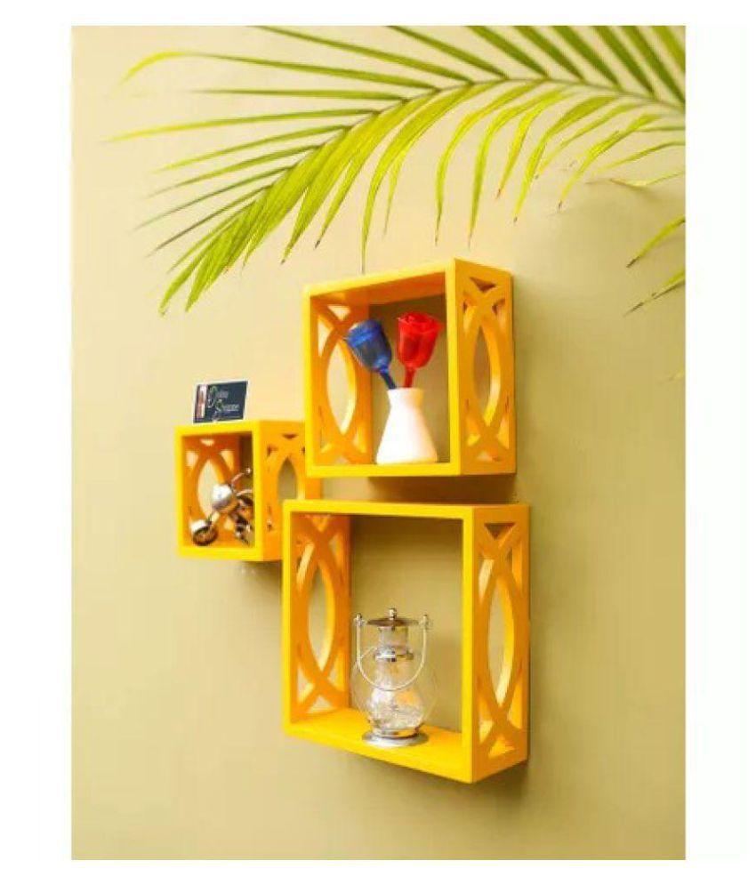 Onlineshoppee Hermosa Square Nesting MDF Wall Shelf - Yellow