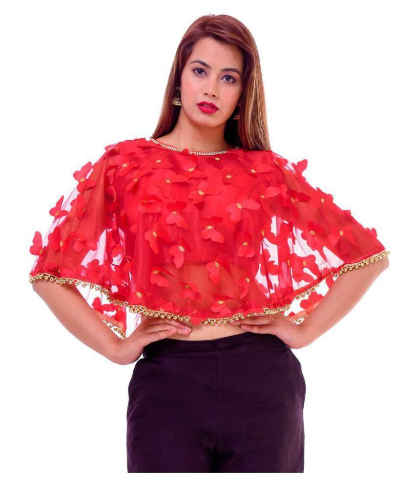 Wow Red Art Silk Readymade with Pad Blouse