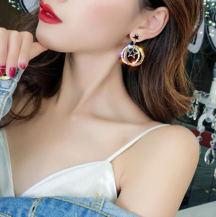 Multi-Layer Circle Five-Pointed Star Wild Big Earrings Fashion Jewellery