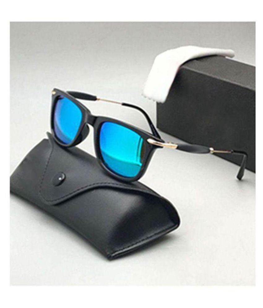 EDDY FASHION HUB - Ocean Blue Square Sunglasses ( 2148 aqua blue )