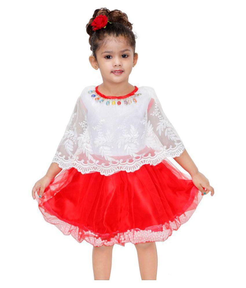 Mojua Girls Midi/Knee Length Party Dress  Red, Cap Sleeve