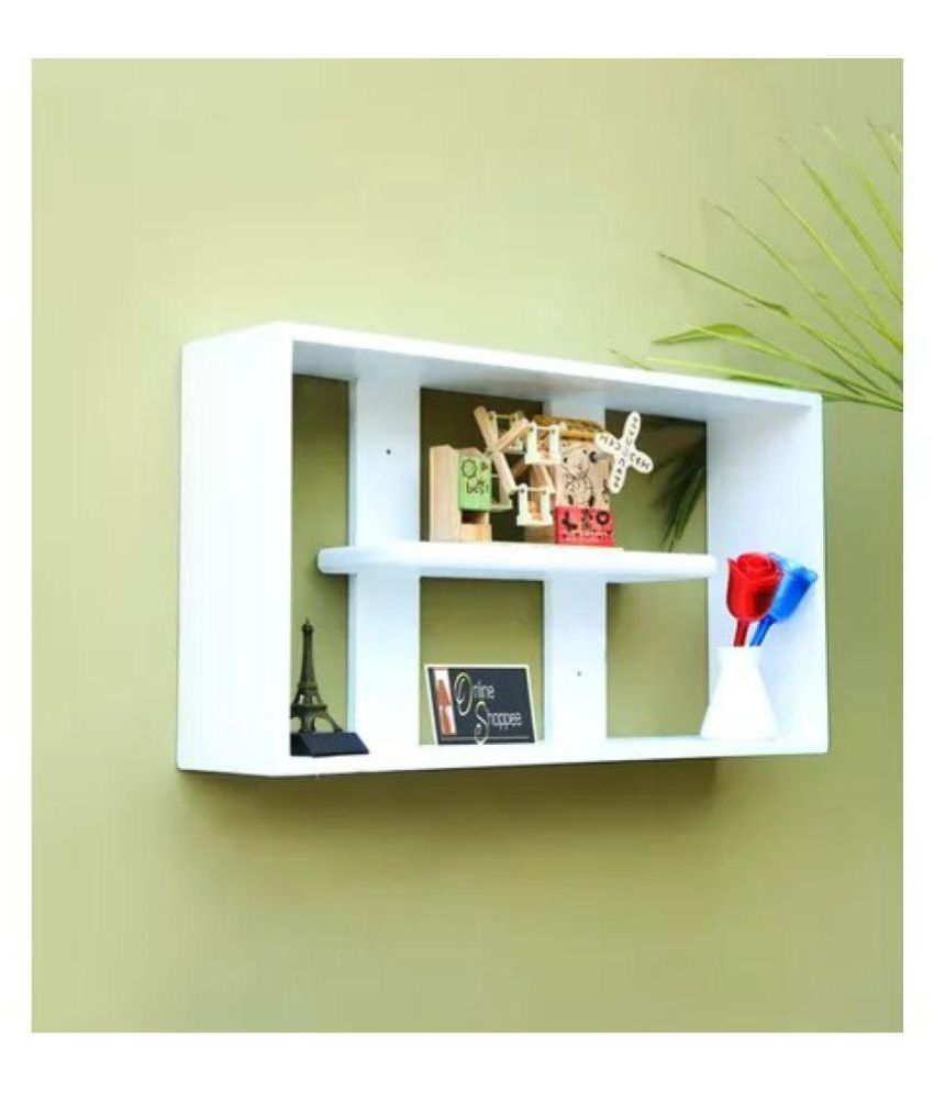 Onlineshoppee MDF Handicraft multiple compartments Designer Wall Shelf