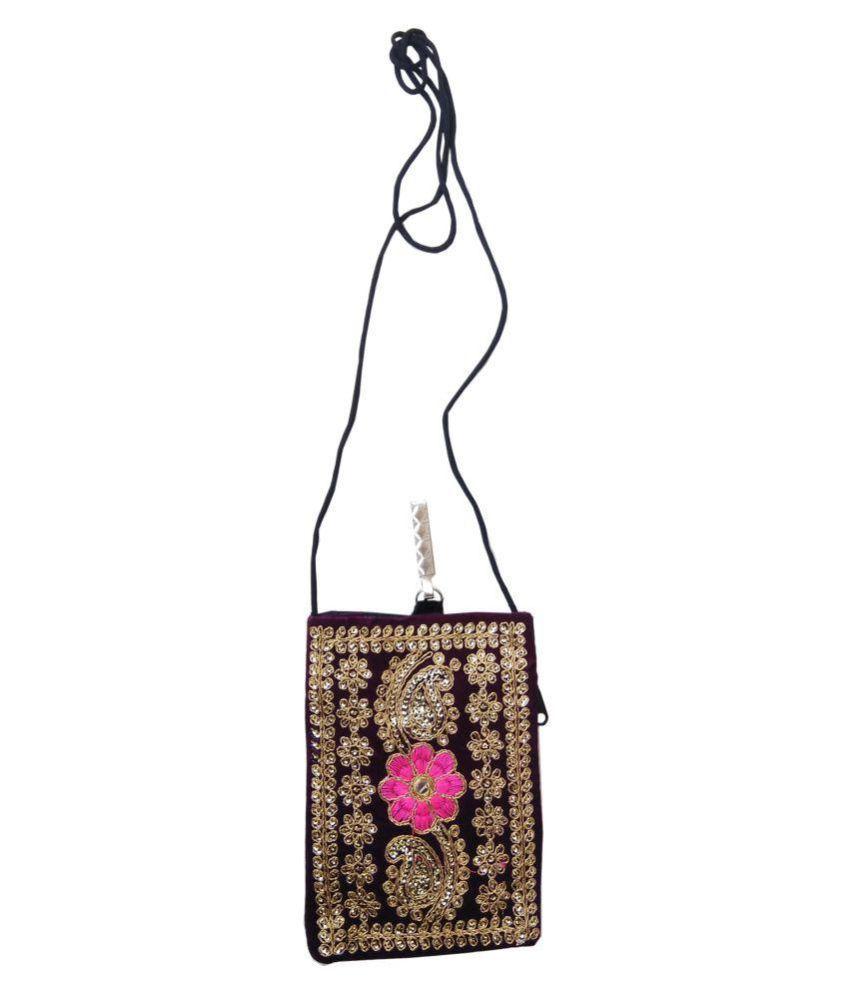 Shinde patil exports Purple Woven Sling Bag