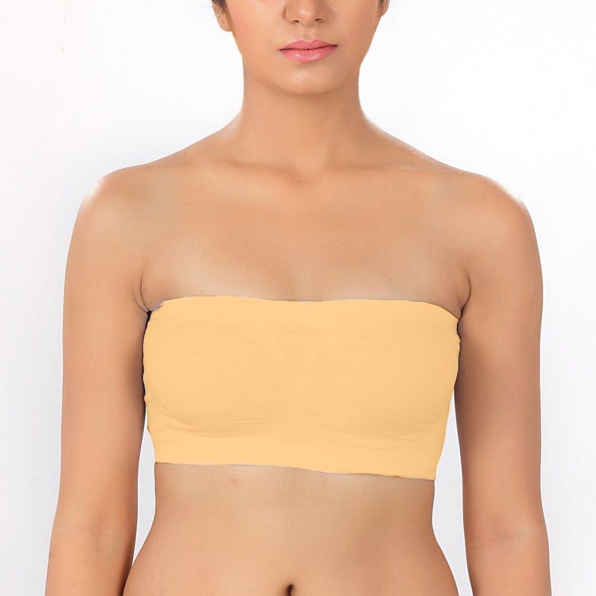 J P VILLA Cotton Lycra Tube Bra - Yellow