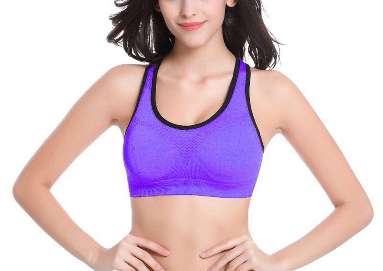 KAJAL ENTERPRISE Polyester Sports Bra - Purple