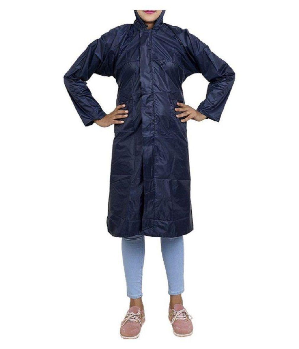 SPZ FASHION Nylon Long Raincoat - Multi Color