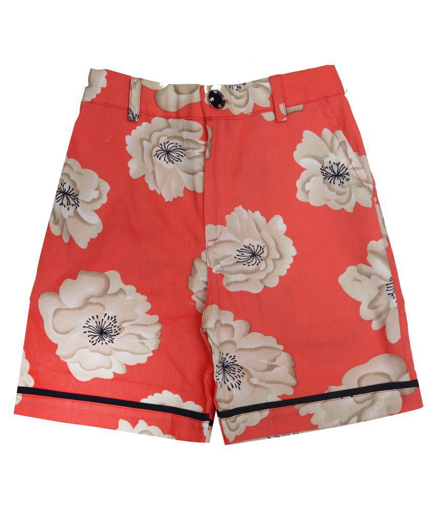Zadmus Girls Cotton Printed HotPant (Orange,3 - 4 Years)