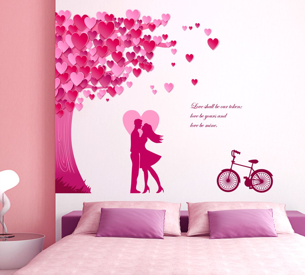 Stickerskart Multicolor Romantic Couple Decor The Heart Leaves Tree And Love Quote With Bicycle Wall Stickers 90 x 105 cms