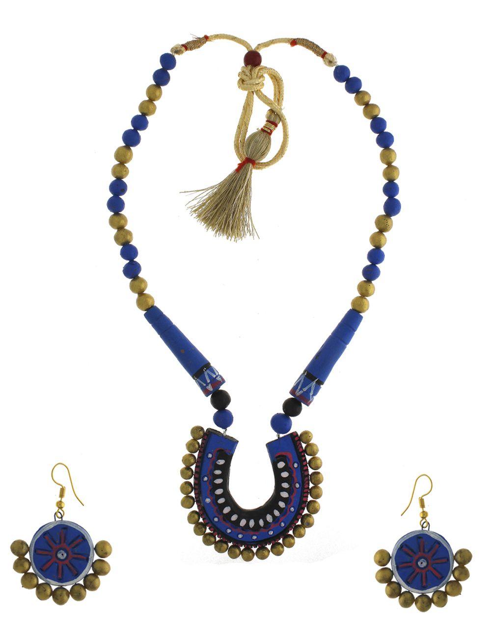 Anuradha Art Blue-Gold Colour Wonderful Classy Handmade Terracotta Necklace Set For Women/Girls