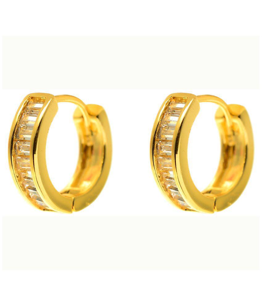 Bebold Piercing Gold Baguette Stone Cool Fashion Bali Stud Earrings