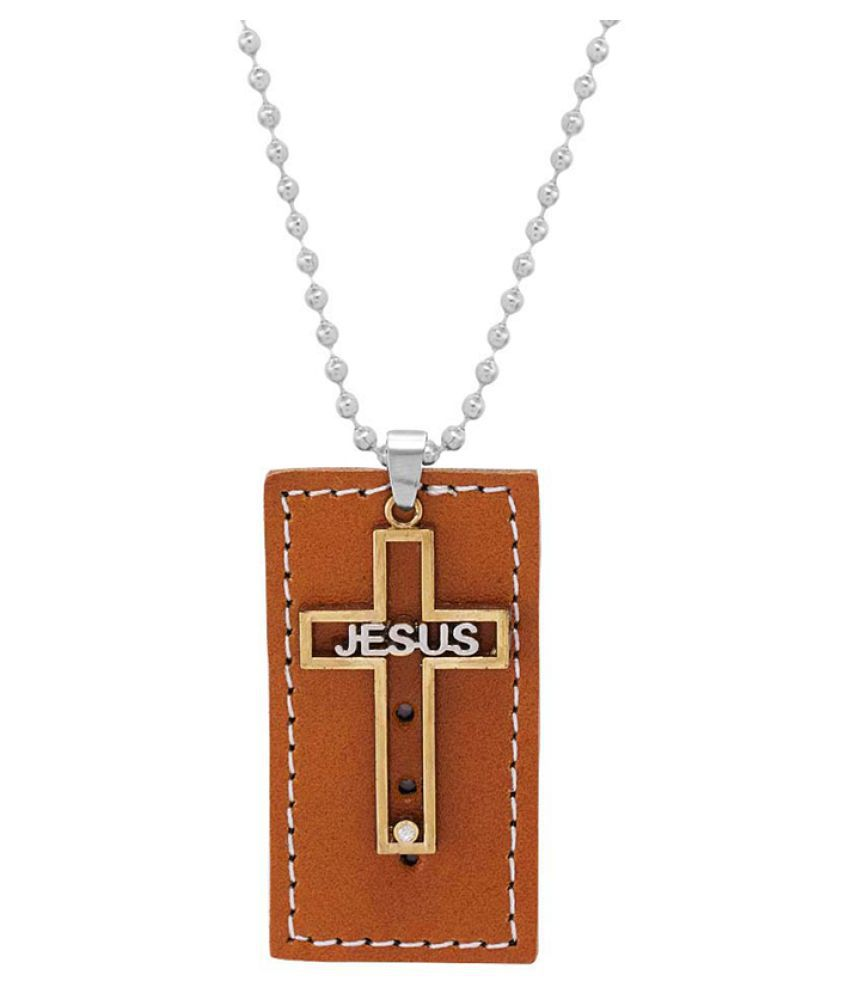 Dare by Voylla Jesus Pendant In Brown Leather Design With Chain