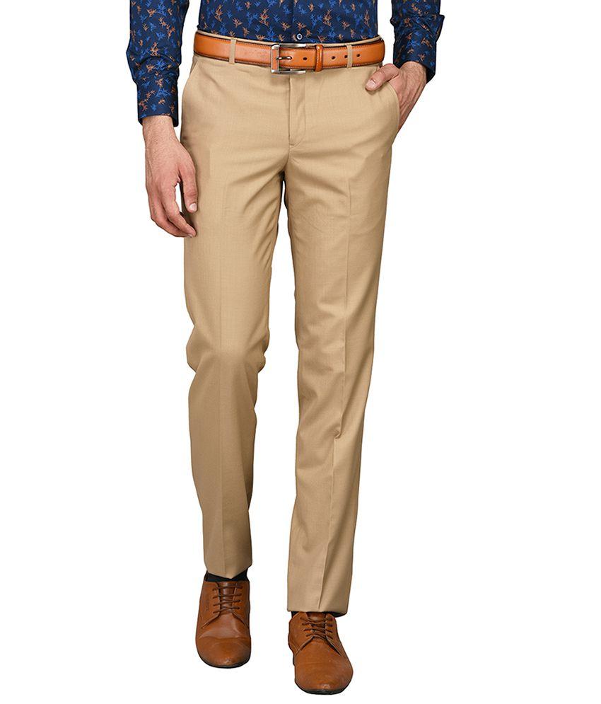 Greenfibre Grey Slim -Fit Flat Trousers