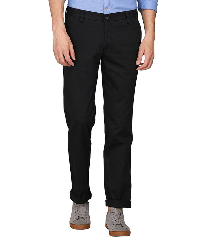 JadeBlue Black Regular -Fit Flat Trousers