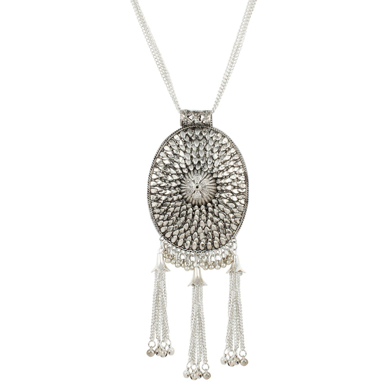 Andaaz Designer Tribal Fashion Oxidized Silver Necklace for Girls