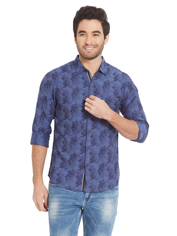 Spykar Blue Slim Fit Shirt
