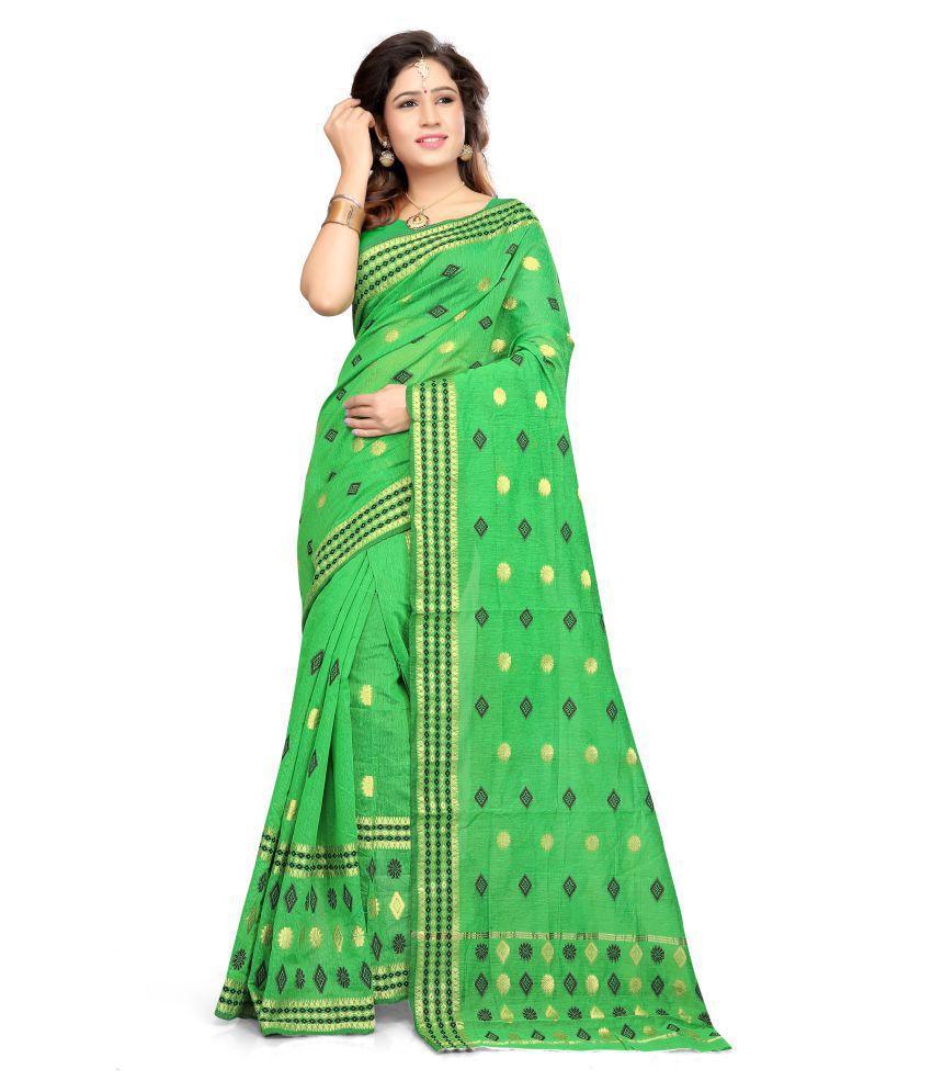 S. Kiran's Green Cotton Poly Saree