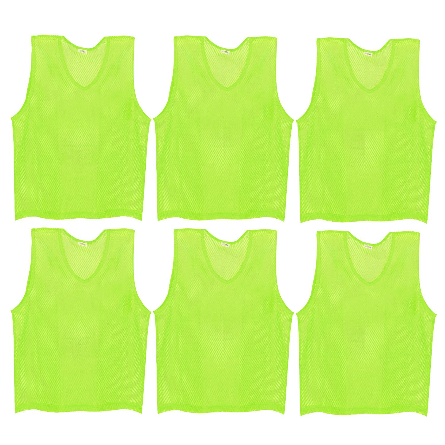 SAS Sports Training Bibs Scrimmage Vests Pennies for Soccer - Large size (62 x 54cm), Fluorescent Green color, Set of 6