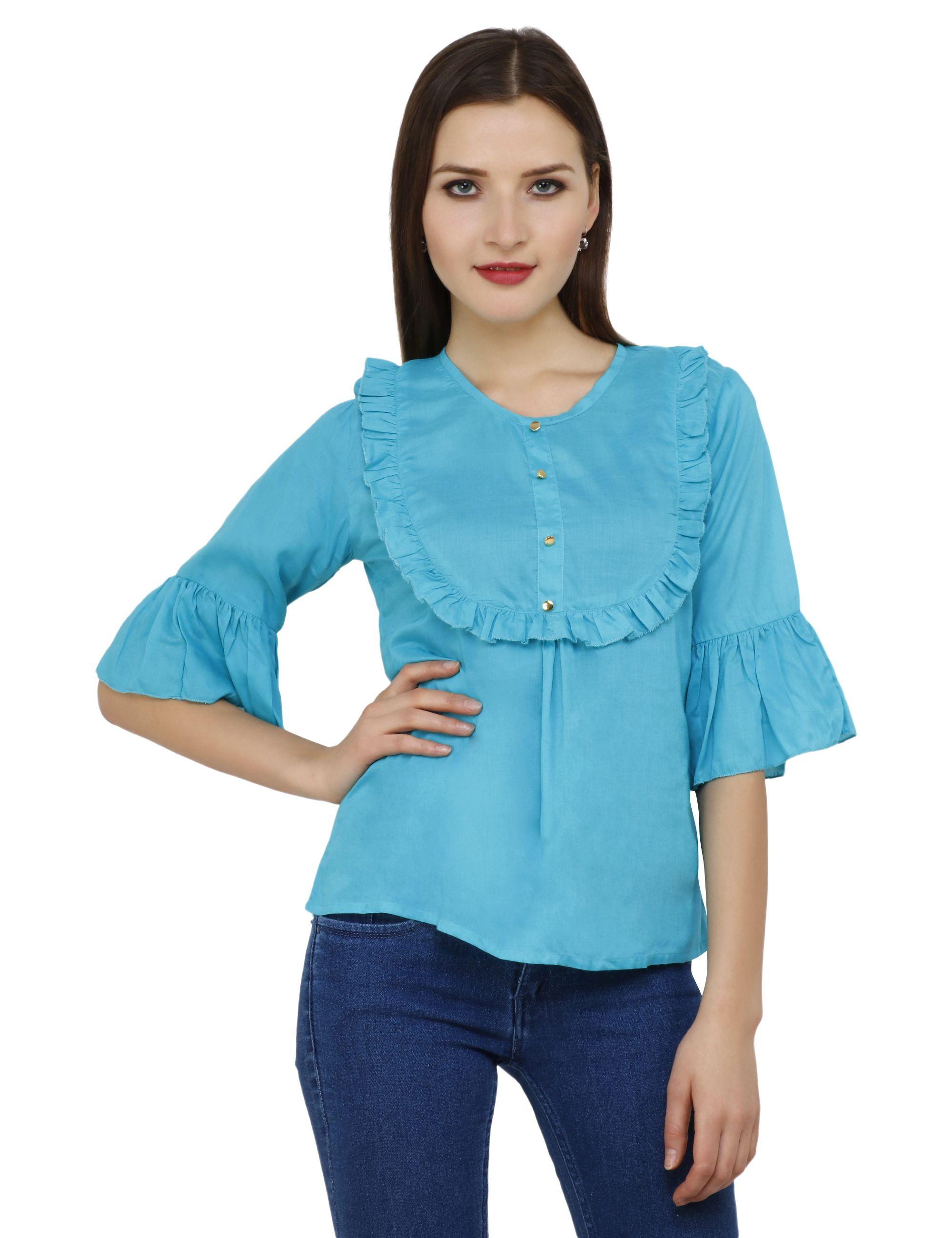 Aadrika Rayon Regular Tops - Blue