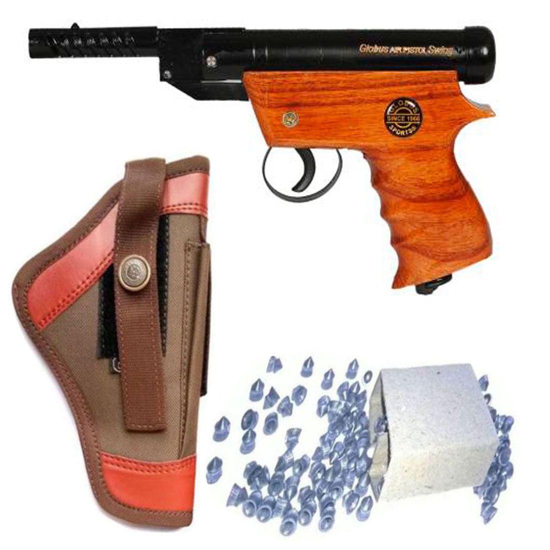 Peshkar Globus Swing Wooden Sports Air Gun With 100 Bullets & Cover