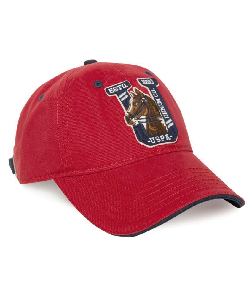 U.S. Polo Assn. Red Plain Cotton Caps