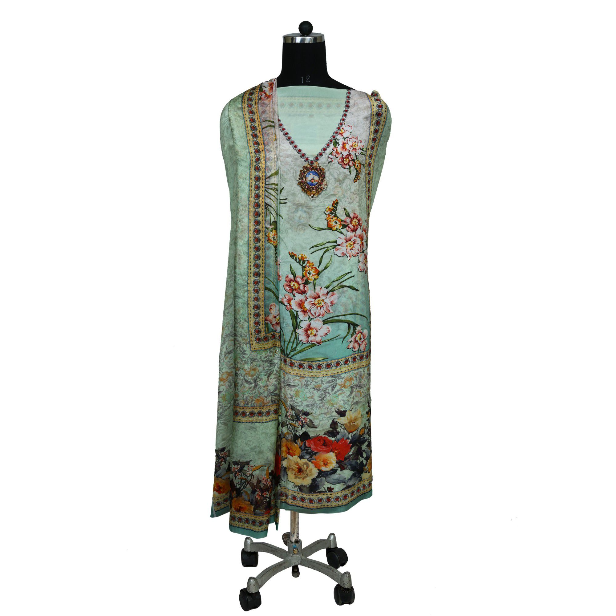Prints Forever Green Cotton Dress Material