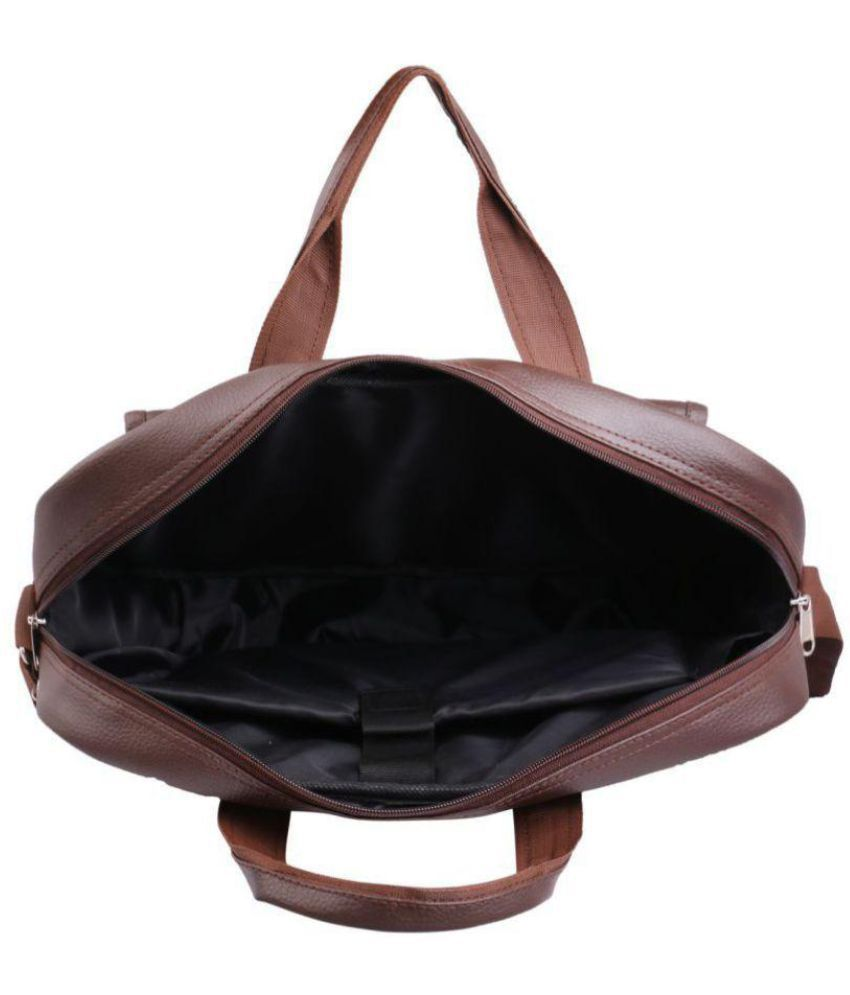 American Tourister Brown P U Leather Laptop Bag Office