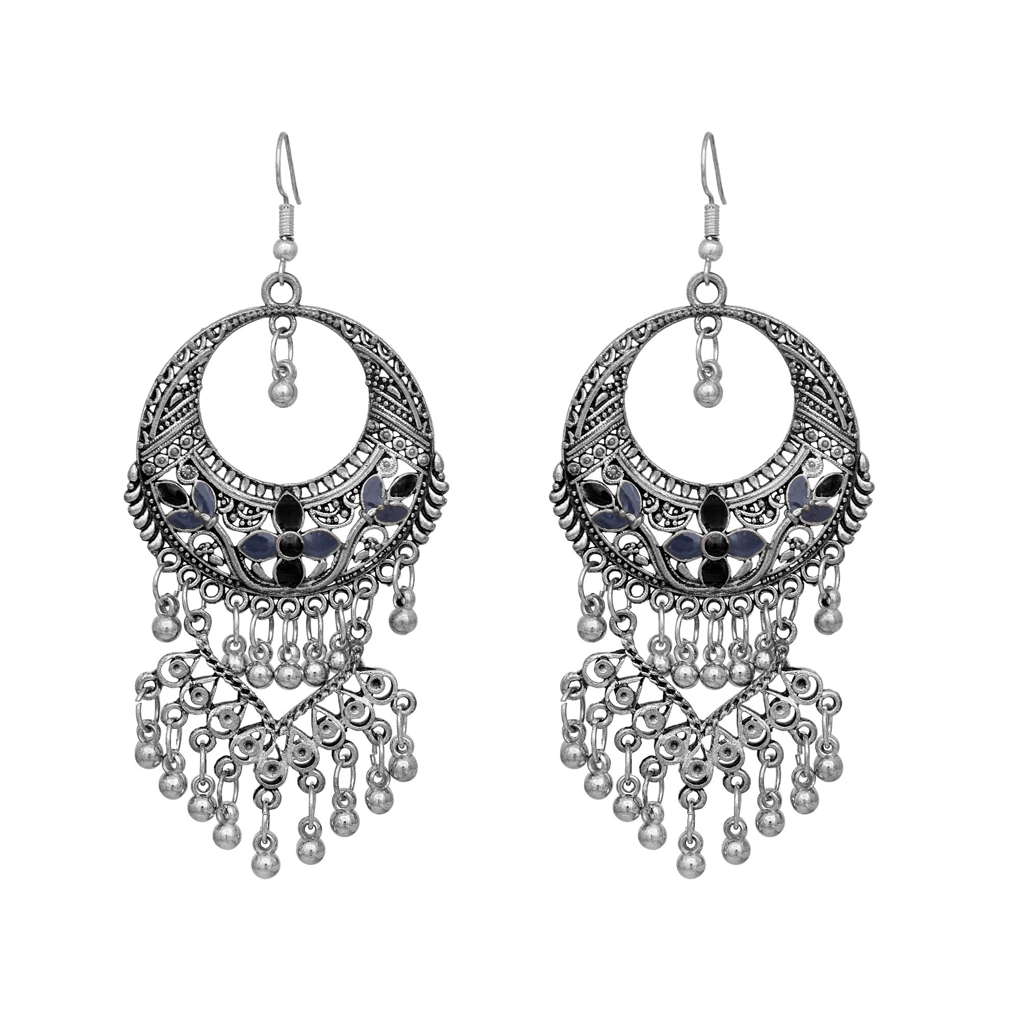MBH Fashions Stylish Oxidised Dual Color Gray And Black Enamel With Beads Fancy Party Wear Chandbali Dangle Earrings for Women and Girls