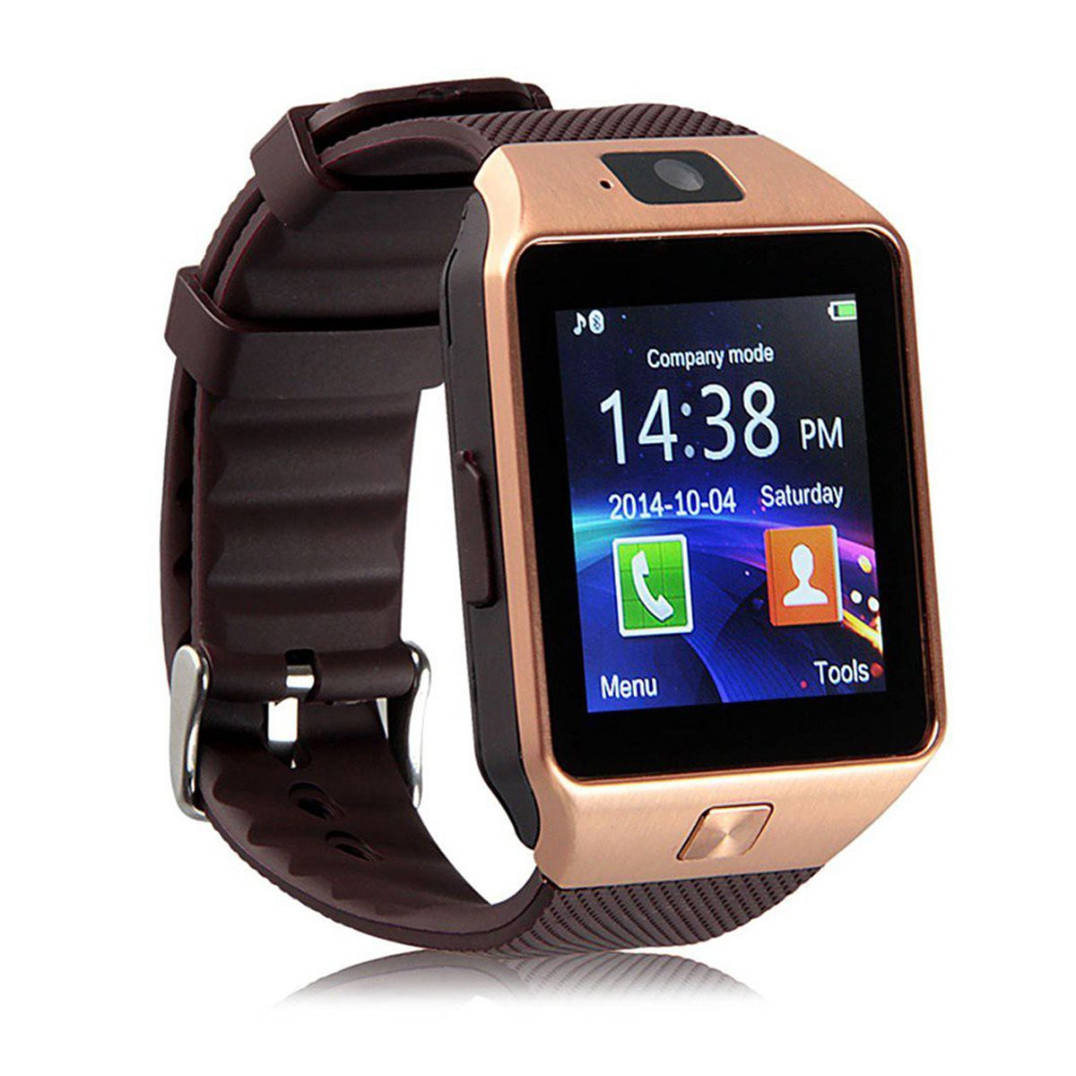 Over Tech Smartwatch Suited Lava V2s Dz09 Golden Smart Watches