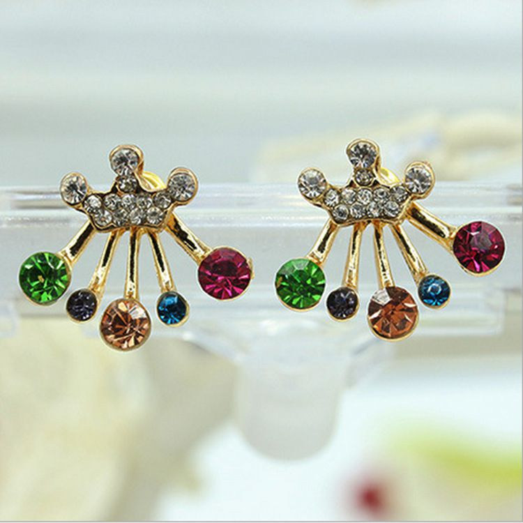 db9b9f1bc 1 Pair of Colorful Rhinestone Crown Stud Earring - Buy 1 Pair of Colorful  Rhinestone Crown Stud Earring Online at Best Prices in India on Snapdeal