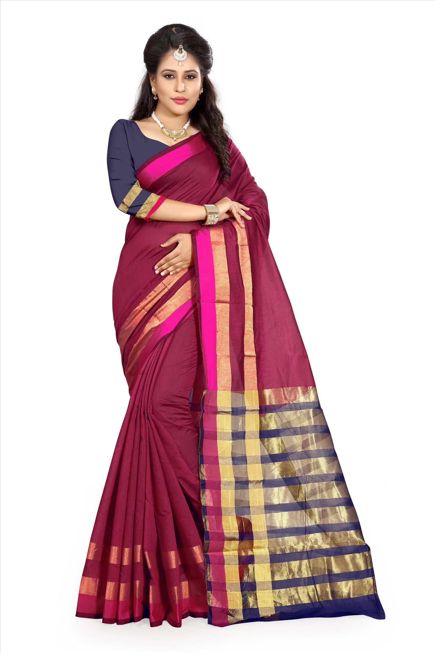 Urban India Red and Maroon Cotton Silk Saree