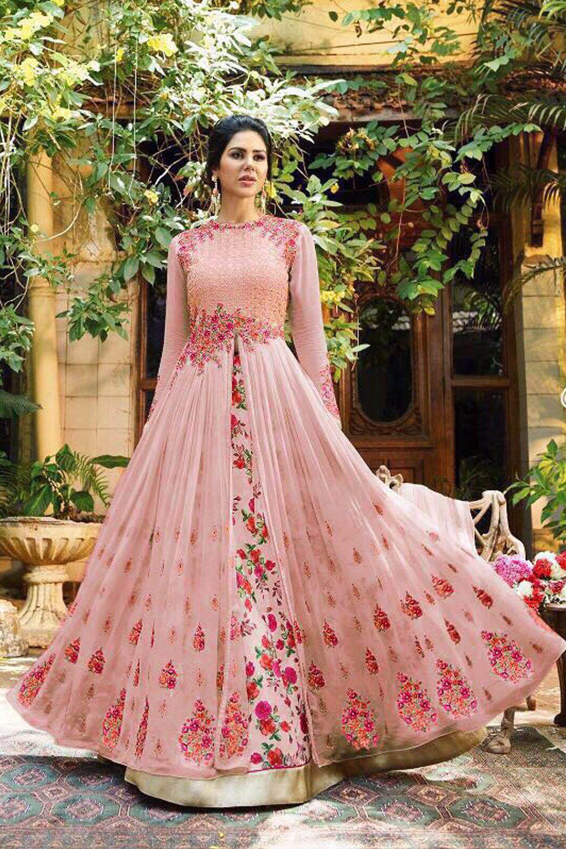 1fcbce492f Ap Enterprise Pink and Beige Georgette Anarkali Gown Semi-Stitched Suit -  Buy Ap Enterprise Pink and Beige Georgette Anarkali Gown Semi-Stitched Suit  Online ...