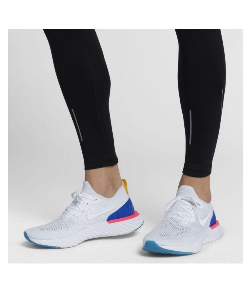 13bd735eb5e Nike Epic React Flyknit White Running Shoes - Buy Nike Epic React Flyknit  White Running Shoes Online at Best Prices in India on Snapdeal