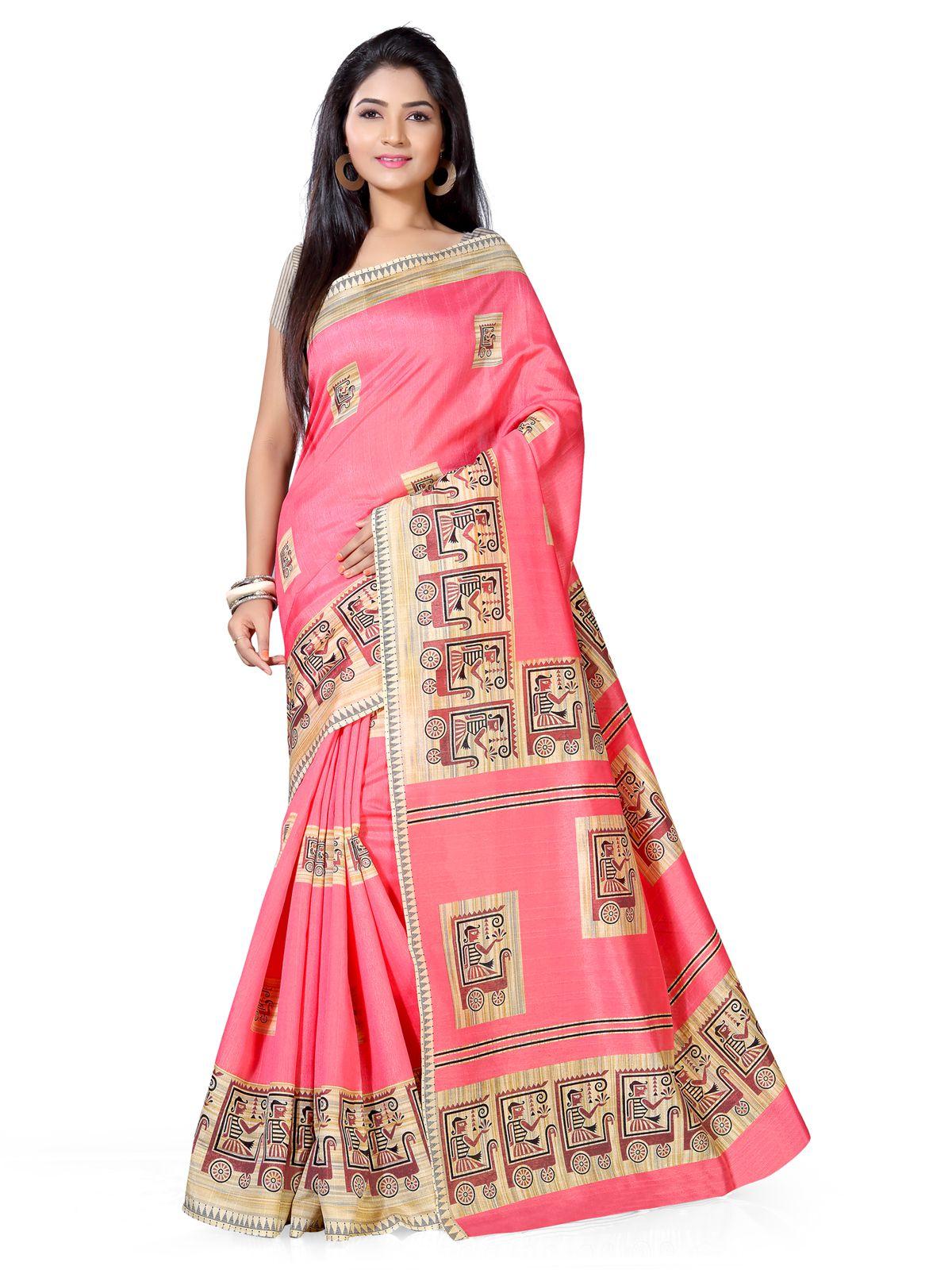 Saree Mall Pink Art Silk Saree