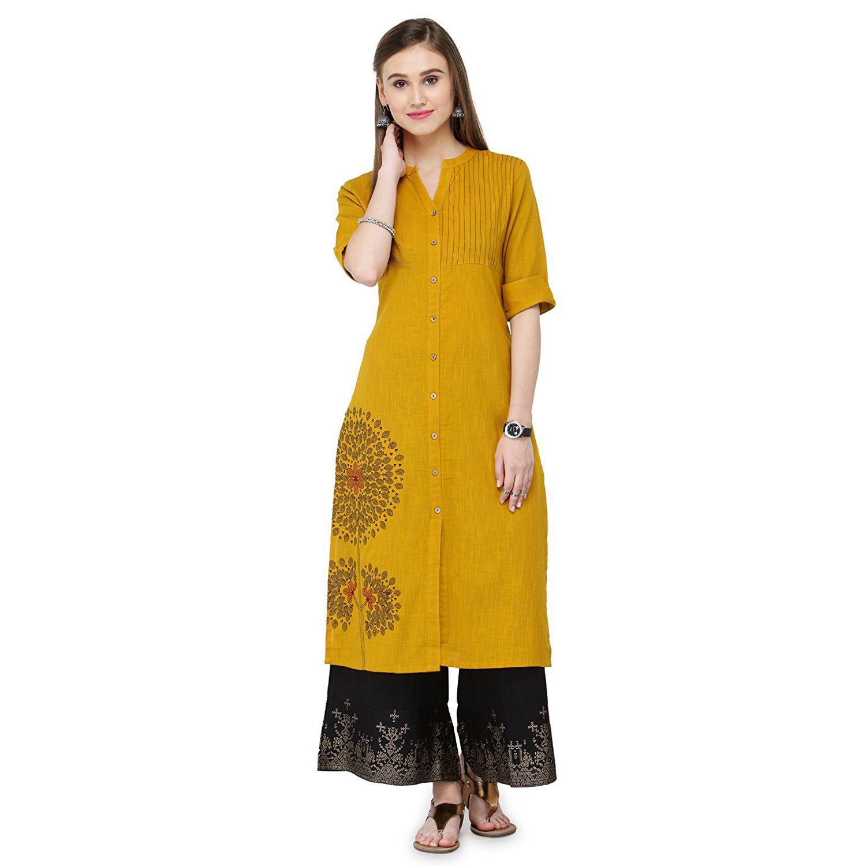 Areum Yellow Cotton A-line Kurti