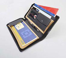 COI Leatherite Cheque Book Holder Document Folder, Black & Grey