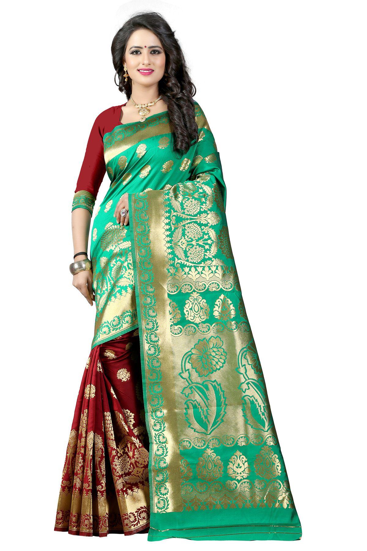 Pehnava Green Banarasi Silk Saree