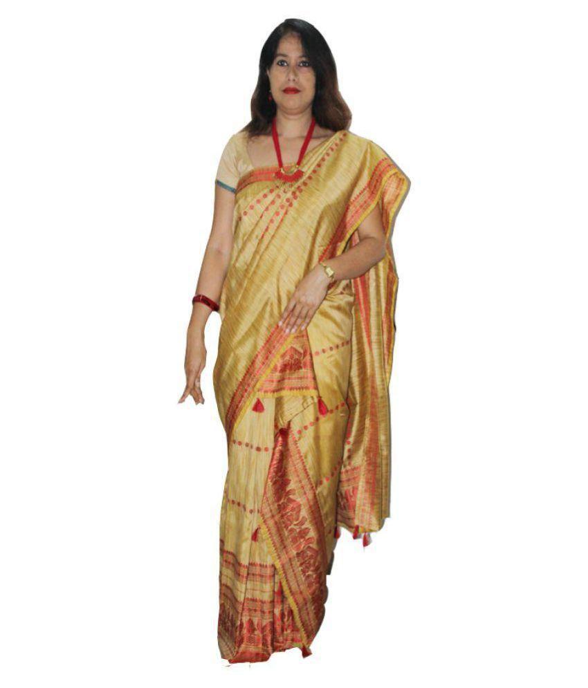 R.G.G'S Mekhela Chador Brown and Beige Art Silk Saree