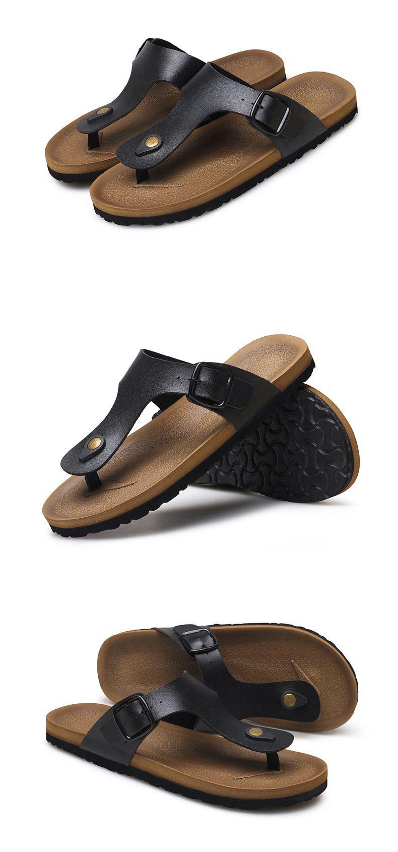 ea0d33c4309b7 ... Pu Leather Sandals Men Black Brown Flip Flops Casual Flat Sandals  Summer Beach Slipper Men Comfort