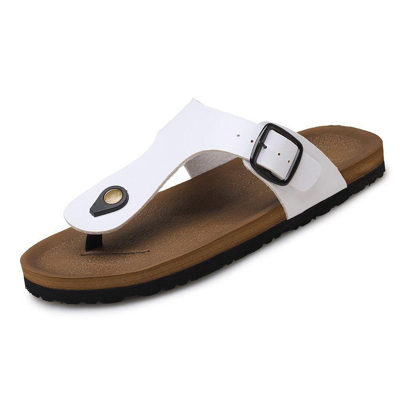 86f1bd2365061 ... Pu Leather Sandals Men Black Brown Flip Flops Casual Flat Sandals  Summer Beach Slipper Men Comfort ...