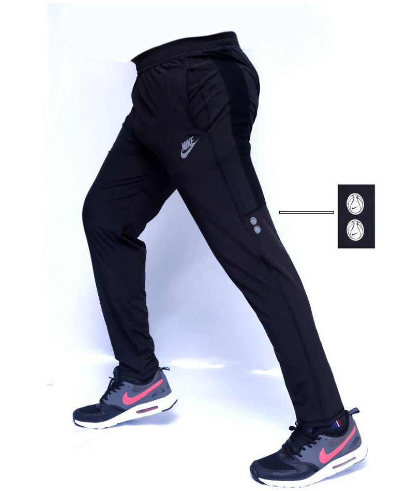 Blue Polyester Lycra Trackpants