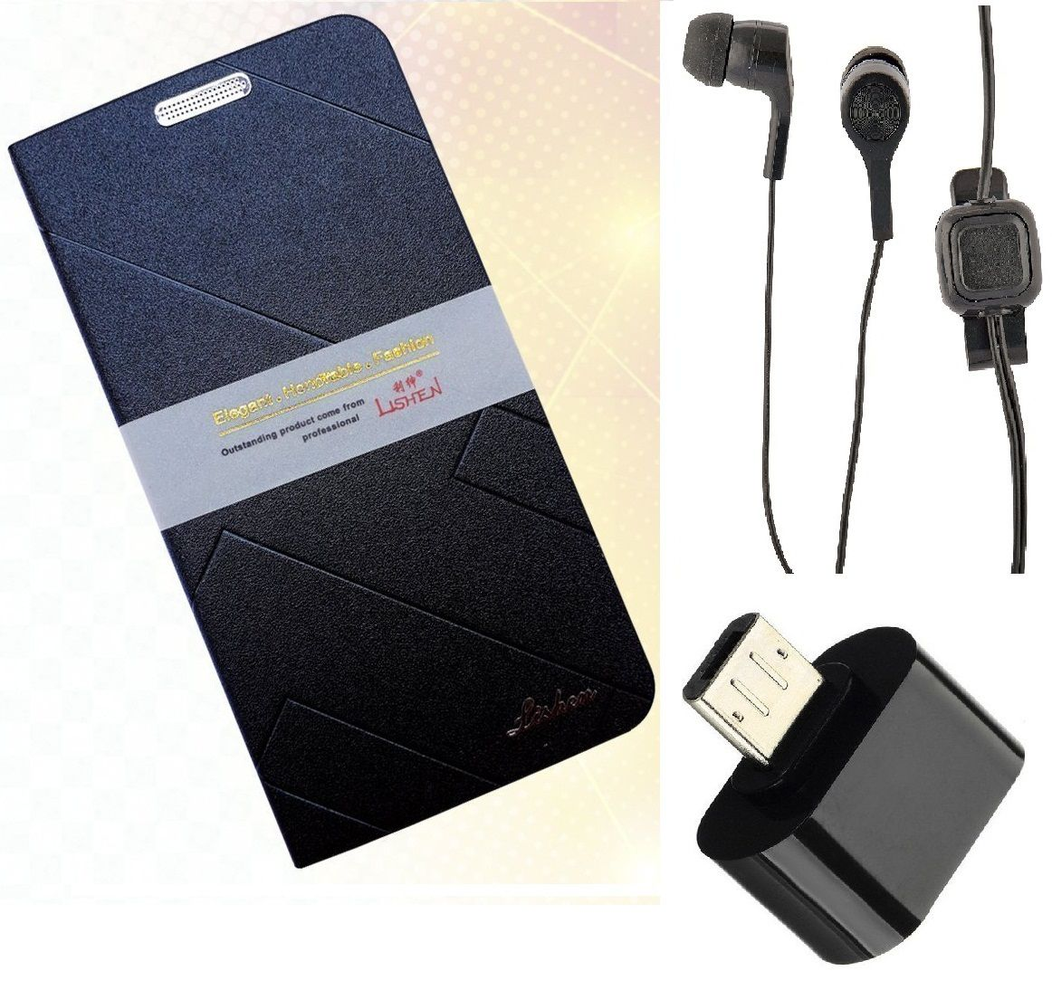 Gionee Pioneer P5L Cover Combo by MuditMobi Lishen Flip Cover Combo