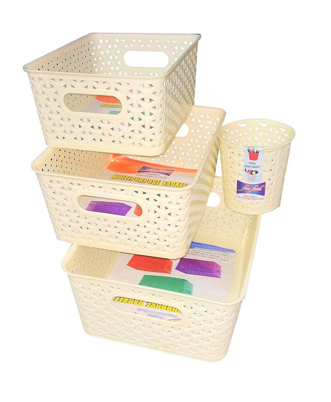 Fair Food Multipurpose Plastic Storage Baskets/Kitchen Organiser   Set of 4  Ivory