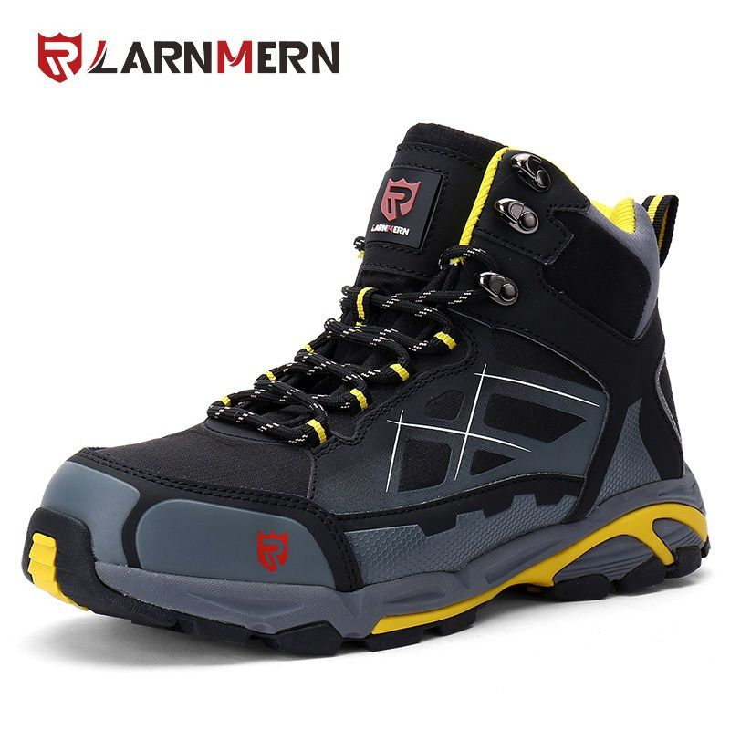 2b51a4e1bd4 Larnmern Men Steel-Toe Work Boots Comfortable Hiking Boots Fashion ...