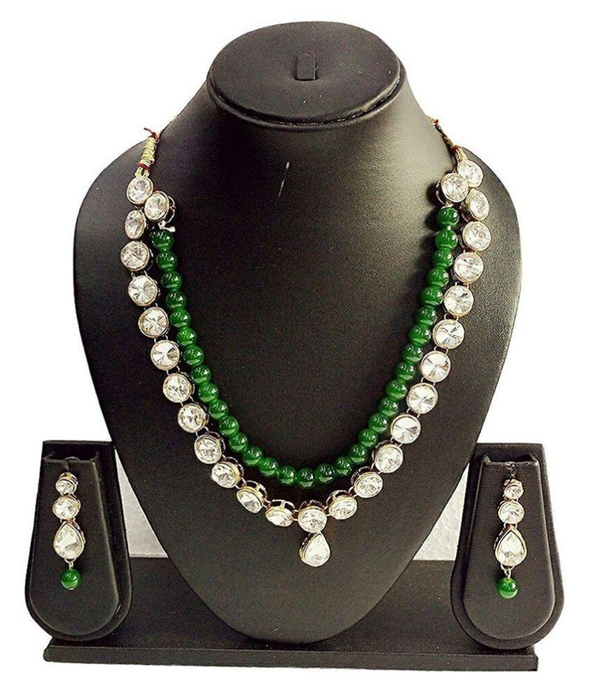 CATALYST Fashion GREEN Pearl N Stone Necklace Set For ...
