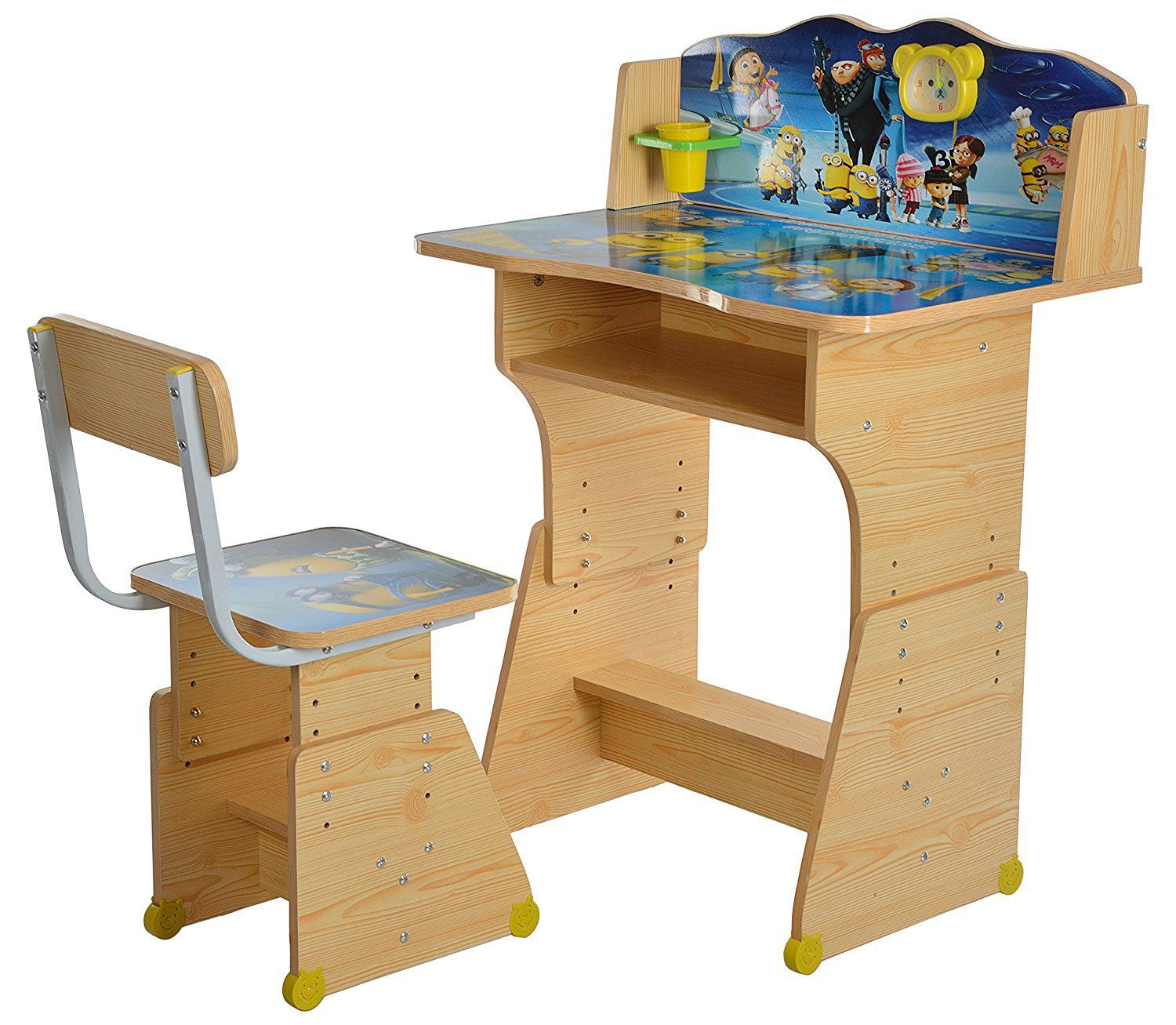 iris minion heavy duty kids table and chair study set wooden buy rh snapdeal com